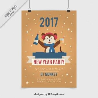Grappig dj dragen nieuwe jaar partij poster