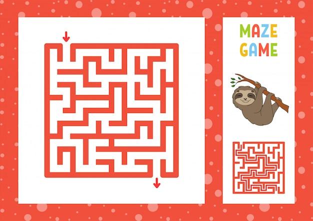 Grappig doolhof. spel voor kinderen. puzzel voor kinderen. blij karakter. labyrint raadsel.