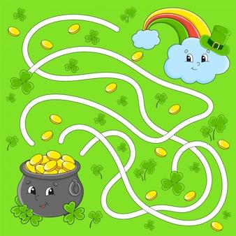 Grappig doolhof voor kinderen. pot, regenboog. st. patrick's day. puzzel voor kinderen. stripfiguur.