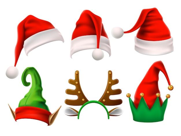 Grappig elf, sneeuwrendier en santa claus-hoeden voor kerstmis. geïsoleerde set