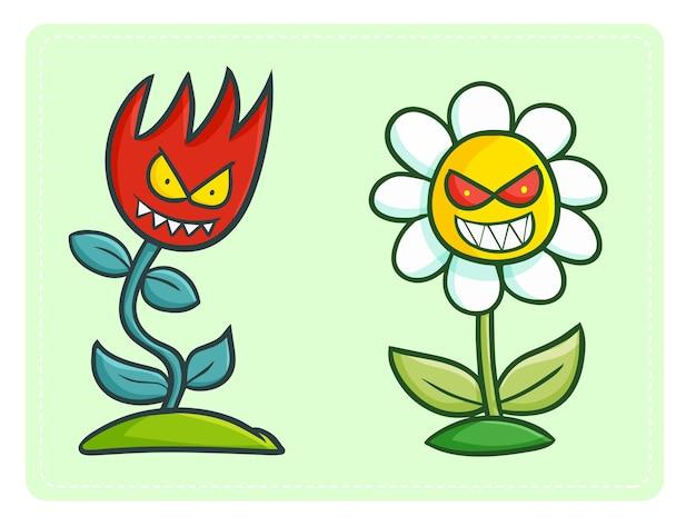 Grappig en eng kawaii twee bloemenmonster dat uitkomt voor halloween-evenement