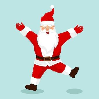 Grappig gelukkig karakter van de kerstman. vrolijk kerstfeest. kerstkaart.