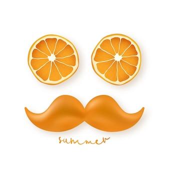 Grappig gezicht in de vorm van een man bestaande uit stukjes sinaasappel