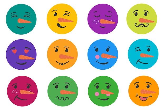 Grappig gezicht sneeuwpop set grappige emoticons glimlach met uitdrukkingen sneeuwmannen hoofden platte hand getrokken doodle