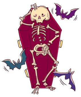 Grappig glimlachend skelet in doodskist in beeldverhaalstijl. vector
