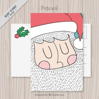 Grappig hand getrokken kerstman postkaart