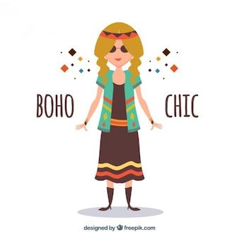 Grappig hippy meisje met boho kleren