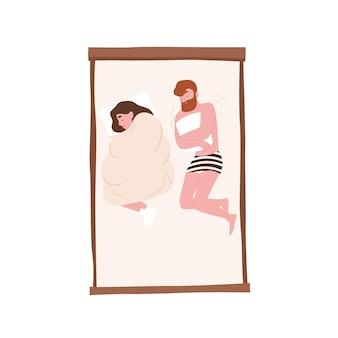 Grappig jong koppel op comfortabel bed. romantische partners sluimeren 's nachts. leuke vrouw die onder dekbed slaapt en man die rilt van de kou. rust of rust. platte cartoon kleurrijke vectorillustratie.