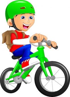 Grappig jongensbeeldverhaal dat bycycle berijdt