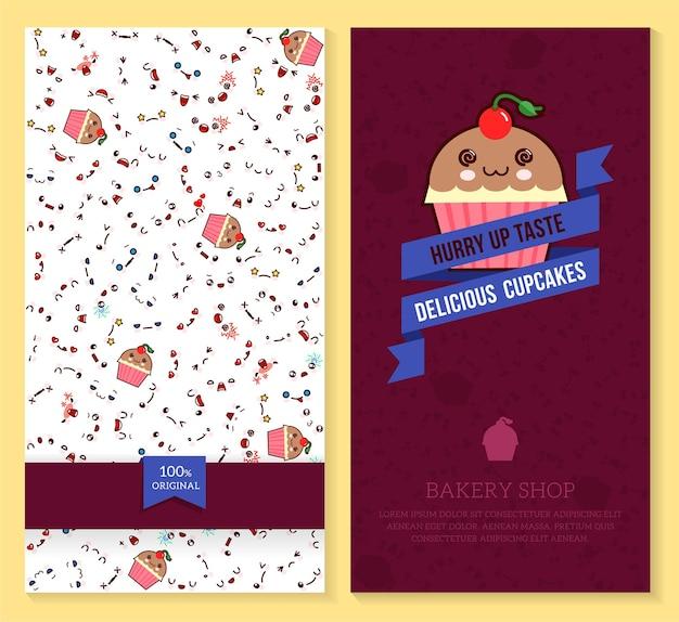 Grappig kaartjesontwerp met kawaii-emotiepatroon en zoete cupcakes