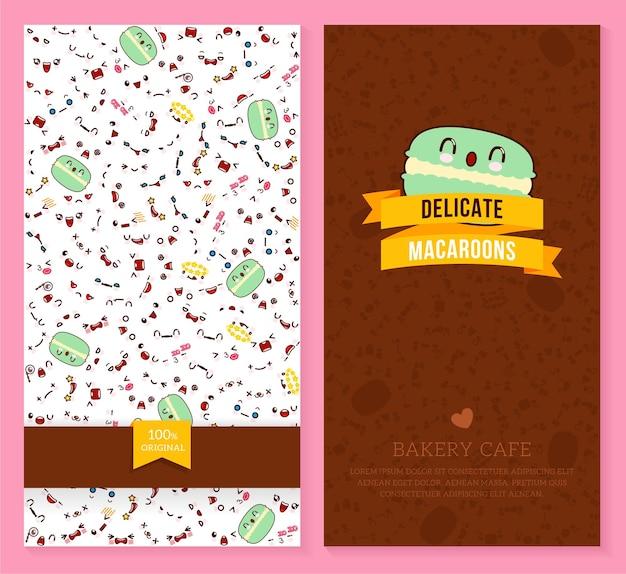 Grappig kaartjesontwerp met kawaii-emotiepatroon en zoete macaron