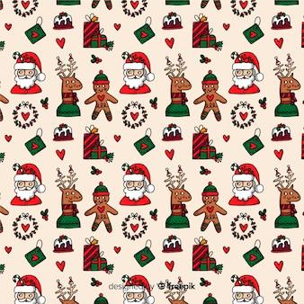 Grappig kerstmis naadloos patroon met de kerstman