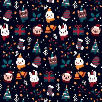 Grappig kerstpatroon met dieren en sneeuwpop