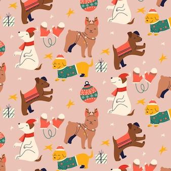 Grappig kerstpatroon met schattige dieren