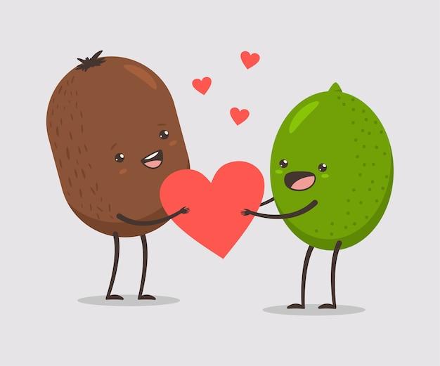 Grappig kiwi en limoenpaar met hart