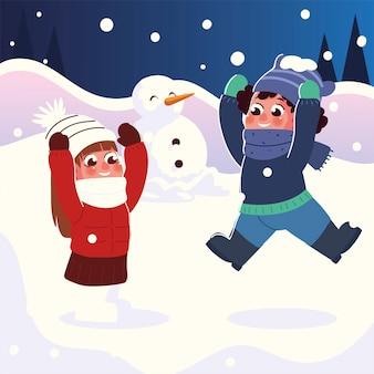 Grappig klein meisje en jongen met warme kleren spelen in de sneeuw, winters tafereel vectorillustratie