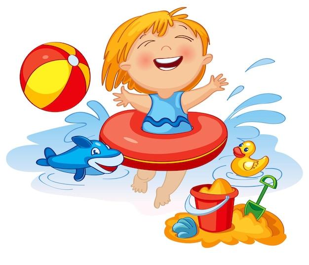 Grappig klein meisje zwemt in een zee