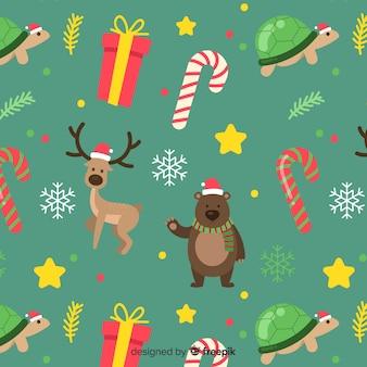 Grappig kleurrijk kerstmispatroon