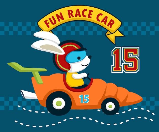 Grappig konijntjesbeeldverhaal op grappige raceauto