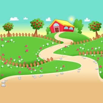 Grappig landschap met boerderij vector cartoon illustratie