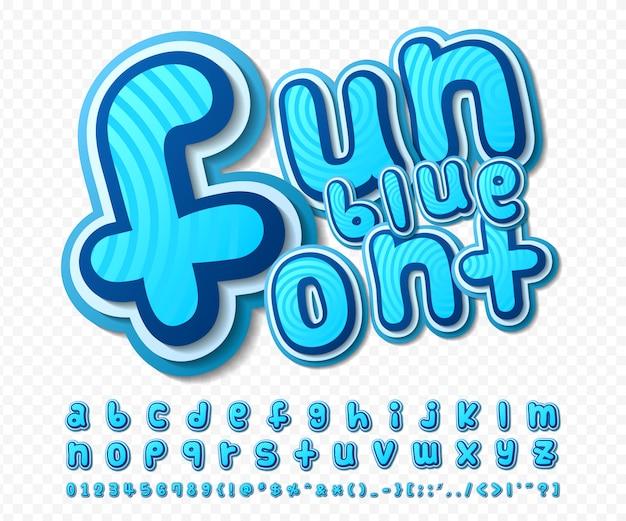 Grappig lettertype. blauw alfabet in stijl van strips, pop-art. multilayer cartoon letters en cijfers