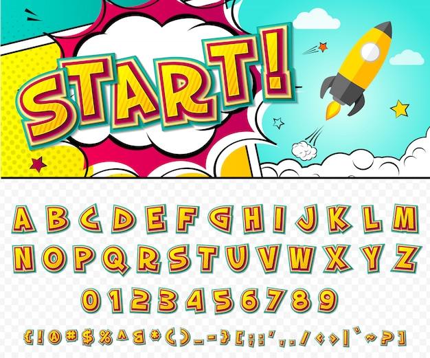 Grappig lettertype. cartoon alfabet in stijl van pop-art.