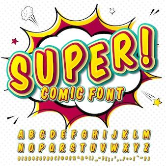 Grappig lettertype. geelgroen alfabet in de stijl van strips, pop-art. multilayer cartoon letters en cijfers