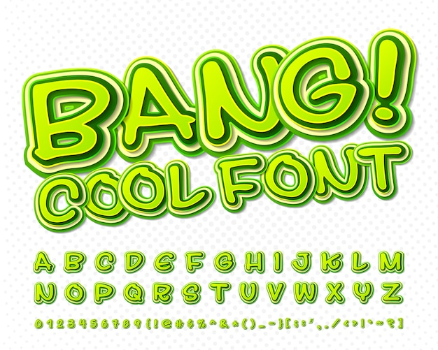 Grappig lettertype. groen alfabet in stijl van strips, pop-art. multilayer cartoon letters en cijfers