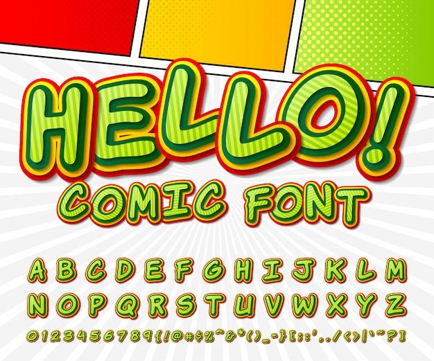 Grappig lettertype. groen alfabet in stijl van strips, pop-art.