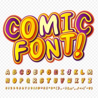 Grappig lettertype. kleurrijk alfabet in stijl van strips, pop-art