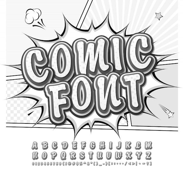 Grappig lettertype. zwart en wit alfabet in de stijl van strips, pop-art