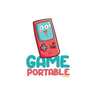Grappig logo voor draagbare gamewinkel of bedrijf