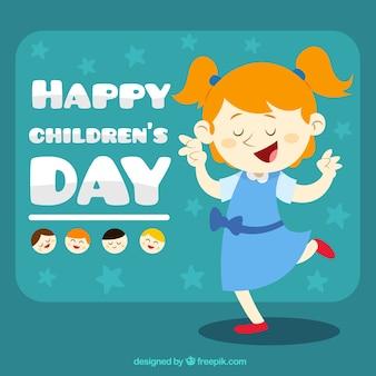 Grappig meisje illustratie fo de dag van kinderen
