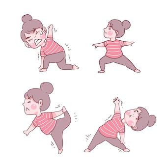 Grappig meisje in yoga houdingen set