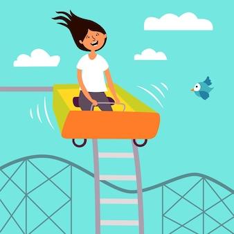Grappig meisje rijden achtbaan