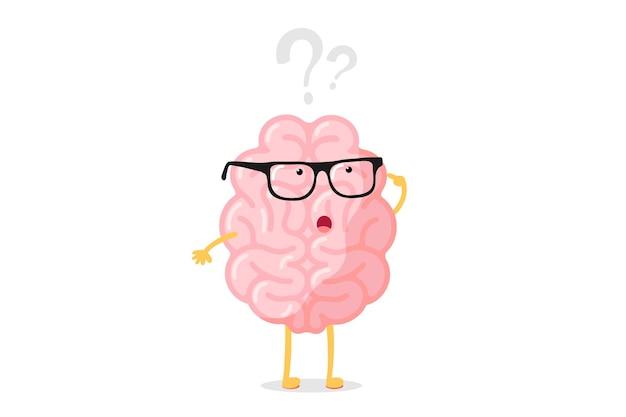 Grappig menselijk brein dacht karakter met een bril denkt over vraagteken. op zoek naar antwoord cartoon hersenen concept. sterke cartoon orgel van het centrale zenuwstelsel op zoek naar antwoord vectorillustratie