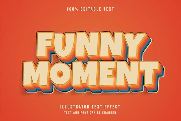Grappig moment, 3d bewerkbaar teksteffect crème gradatie oranje blauw komische tekststijl