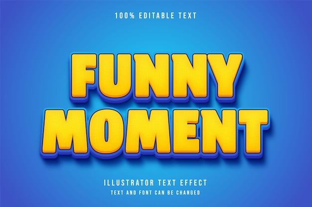 Grappig moment, 3d bewerkbaar teksteffect gele gradatie oranje blauwe komische stijl