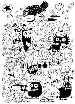 Grappig monsters naadloos patroon voor het kleuren van boek.