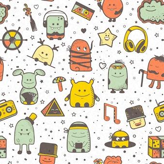 Grappig naadloos patroon met beeldverhaalmonsters, personage. kleurrijke hand getrokken karakters, ongebruikelijke schepselen
