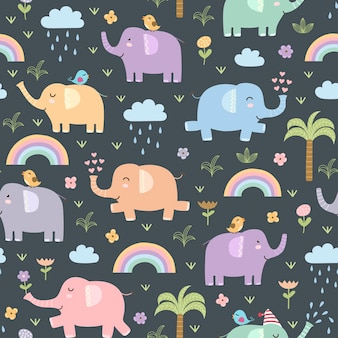 Grappig olifanten naadloos patroon. Premium Vector
