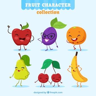 Grappig pakket van expressieve fruitkarakters
