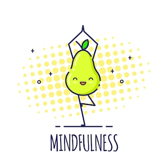 Grappig perenkarakter dat zich in boom bevindt stelt vrikshasana. yoga lessen.
