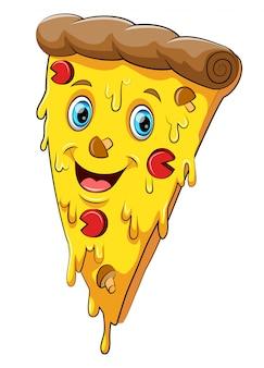 Grappig pizza stripfiguur