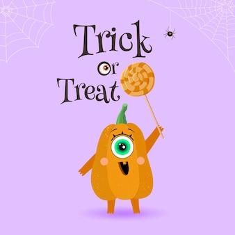 Grappig pompoenkarakter en snoep op een lichtpaarse achtergrond. halloween. eenogig monster. vreugde, geluk, verrassing. vectorillustratie in een vlakke stijl. poster
