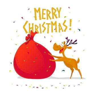 Grappig portret van het rendierkarakter. . xmas decoratie-elementen. prettige kerstdagen en gelukkig nieuwjaarskaart.