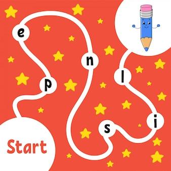 Grappig potlood logica puzzelspel. woorden leren voor kinderen.