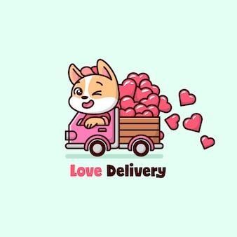 Grappig puppy dat een roze vrachtwagen bestuurt en harten vervoert