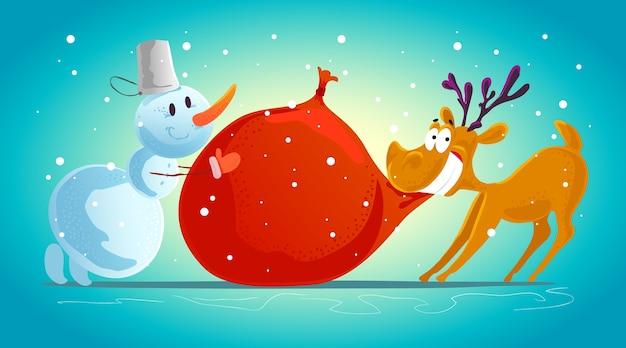 Grappig rendier en sneeuwman karakterportret. . xmas decoratie-elementen. prettige kerstdagen en gelukkig nieuwjaarskaart.