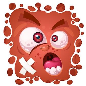 Grappig, schattig, gek monster karakter. halloween illustratie. voor afdrukken op t-shirts.